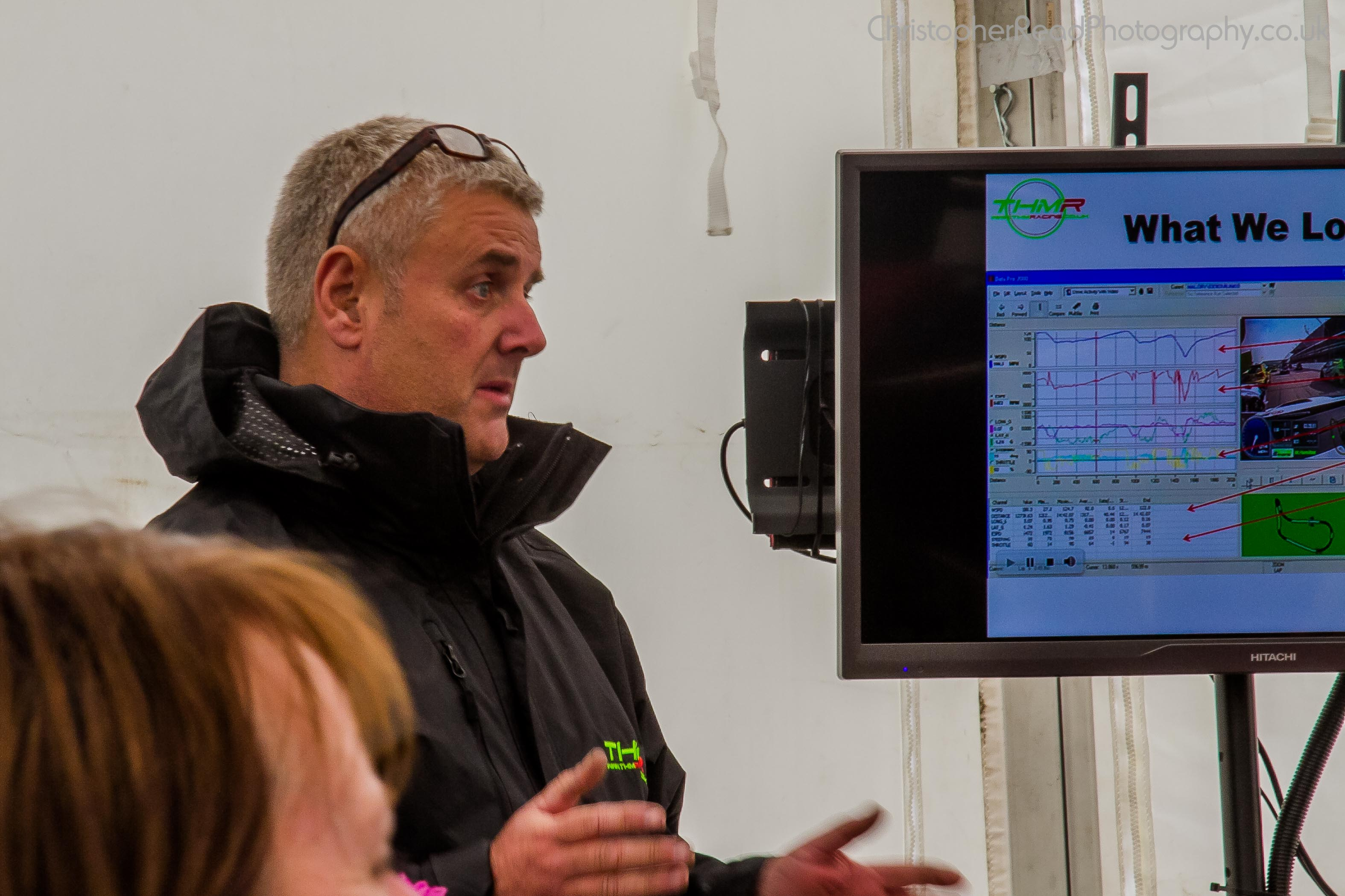 THM Racing - Techinical Director Trevor Humphrey presenting to VIP guests