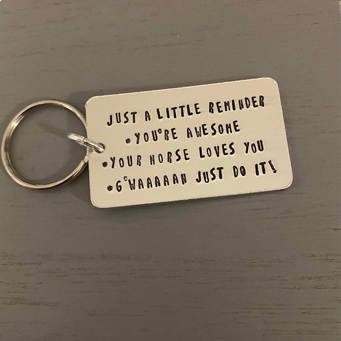 'Just a little reminder' key ring