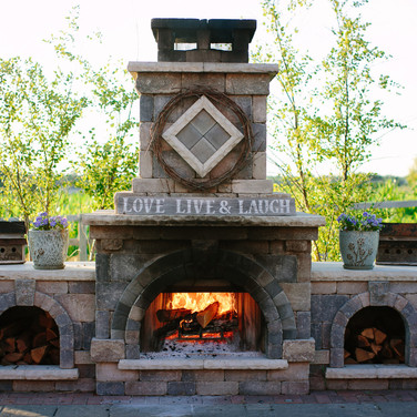 Woodburing fireplace on the patio