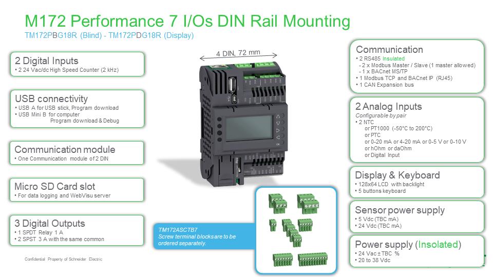 M172 Performance 7 I/O, TM172PDG07R, Modicon, Schneider Electric