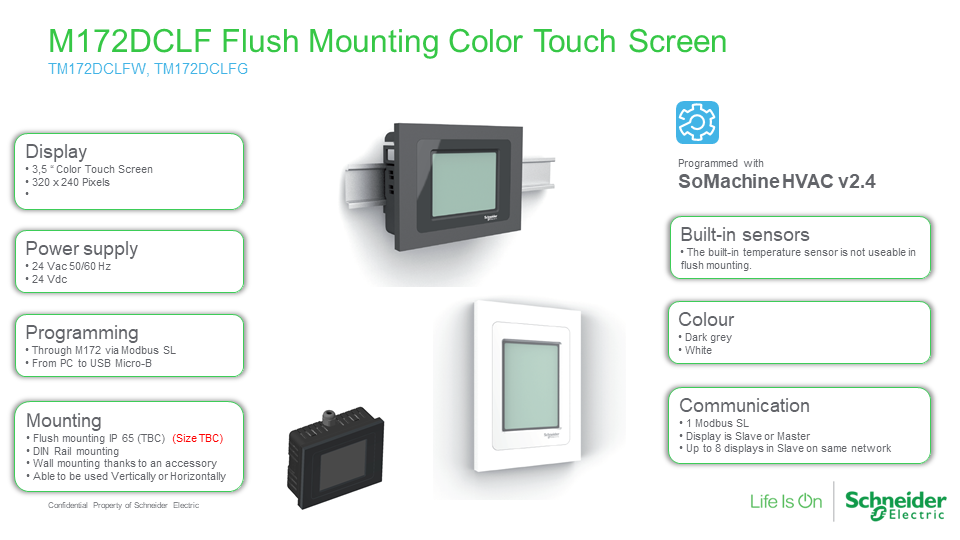 M172DCLF Flush Mounting Color Touch Screen, Schneider Electric