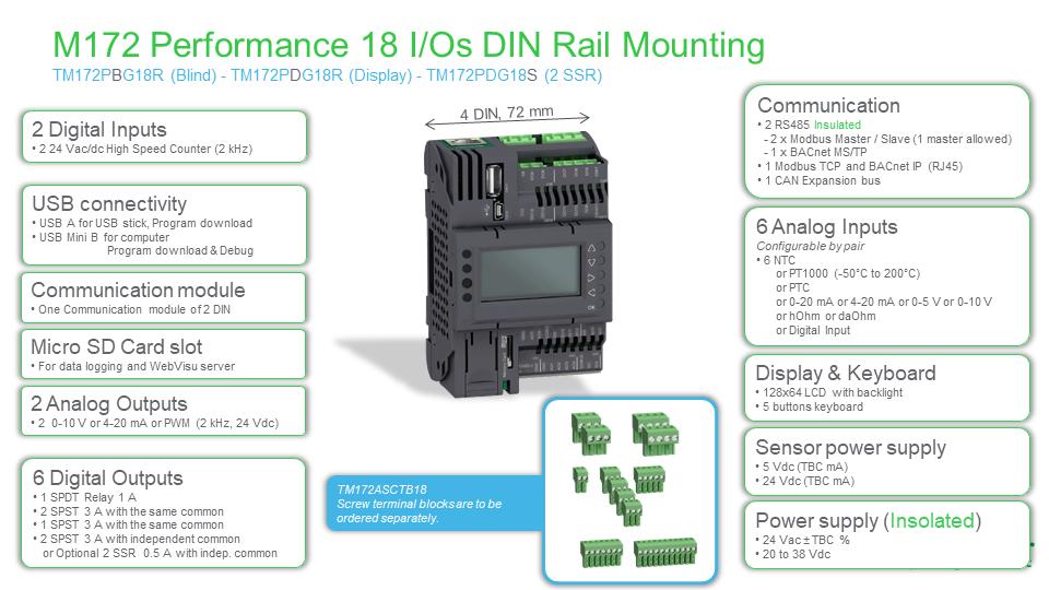 M172 Performance 18 I/O, TM172PDG18R, Modicon, Schneider Electric