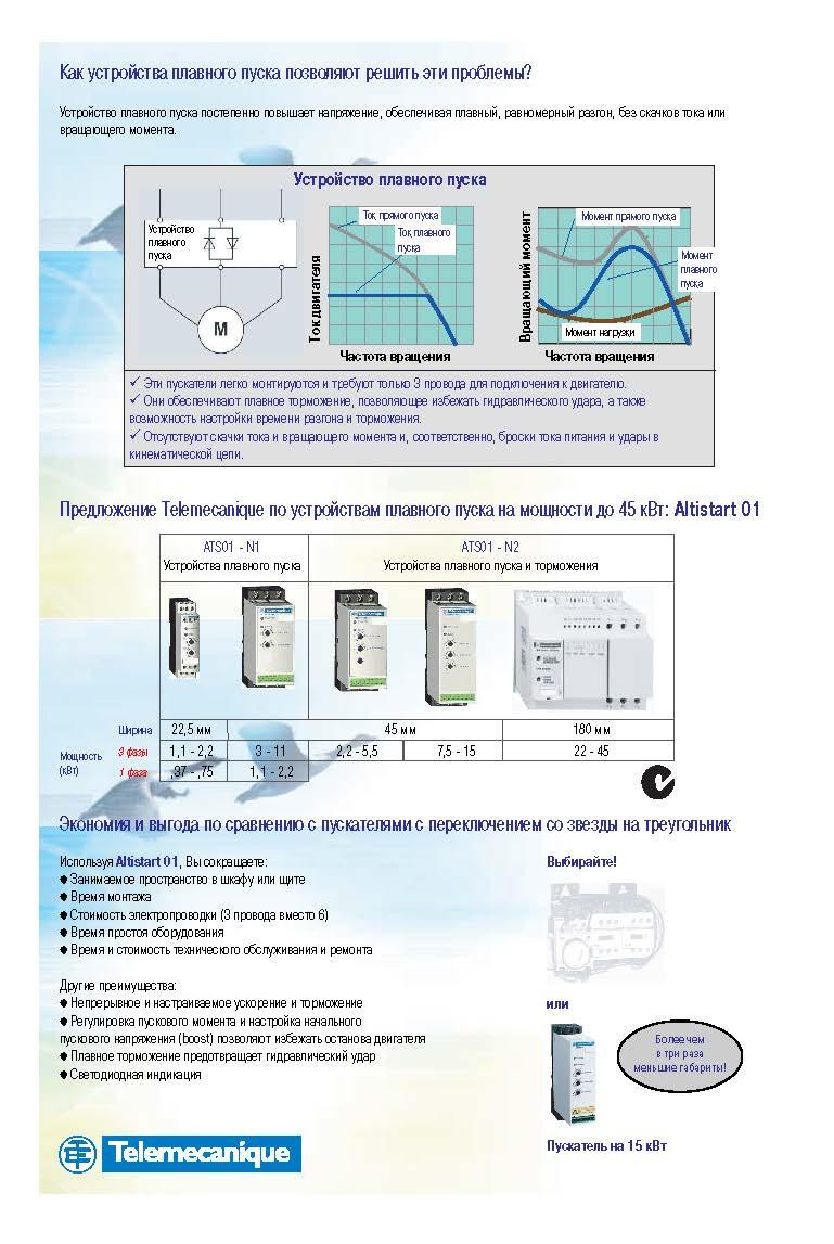 Altistart, устройства плавного пуска, управление двигателем