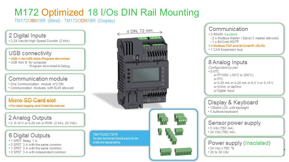 M172 Optimized 18 I/O, TM172ODM18R, Modicon, Schneider Electric
