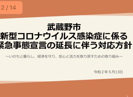 武蔵野市の独自支援「新型コロナウイルス感染症に関わる緊急事態宣言の延長に伴う対応方針」