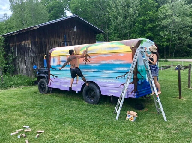 Local artist collaboration between Jerod Black & Caitlyn Rack of Guardian Aliens LLC out of Athens, Ohio. We couldn't have asked for a more perfect mural, we are so grateful for all of the time, love, and creative energy they put into VegBus.