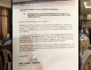 Estrañero's reply to motion to seriously consider not to revoke Bulanao Hydro permit, 'Up to SP'