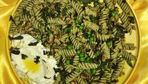 Pesto Pasta with Fennel Sausage, Peas, and Ricotta