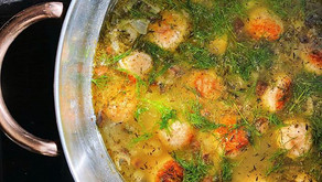 Herby Lemon Soup with Chicken Meatballs