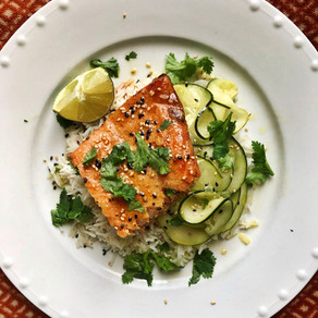 Blood Orange Glazed Salmon on Coconut Rice
