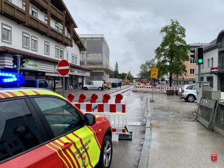 Abgerissene Gasleitung in Bruckmühl