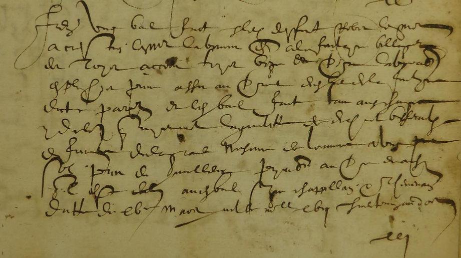 Ecriture cursive 1599