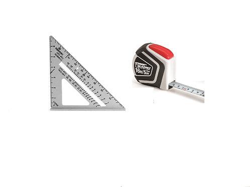 """445+510-16   7"""" Aluminum Rafter Square PLUS 16' Tape Measuring Tape"""
