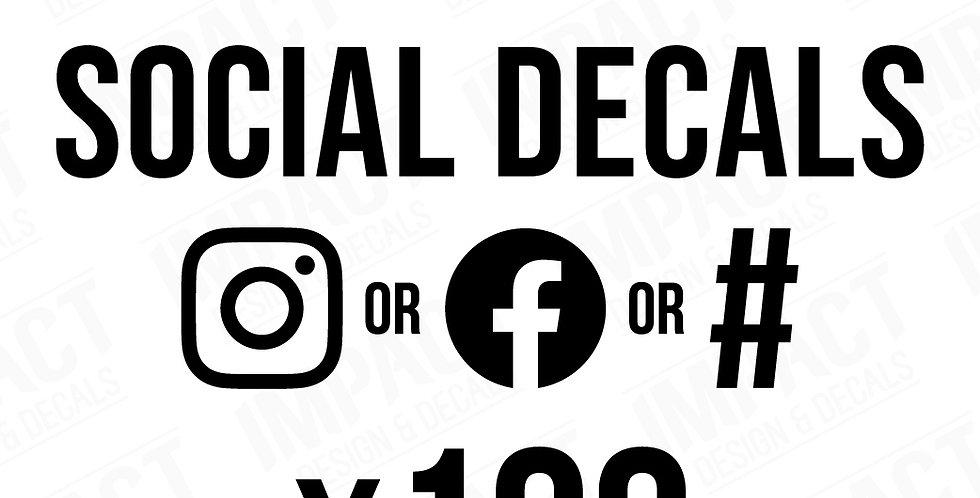 100 x Custom 200mm Social Decals