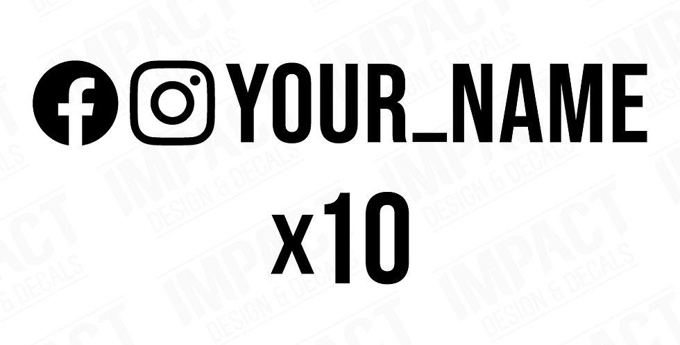 10 x Custom Facebook & Instagram Decals - Small