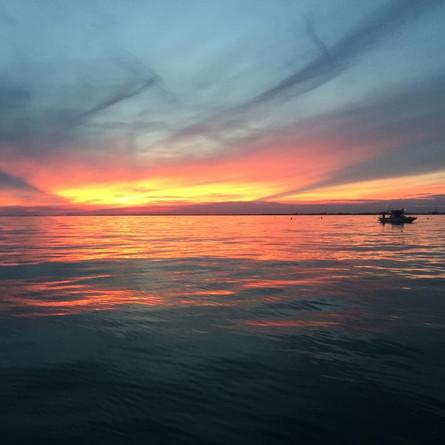 Un tramonto dalla barca