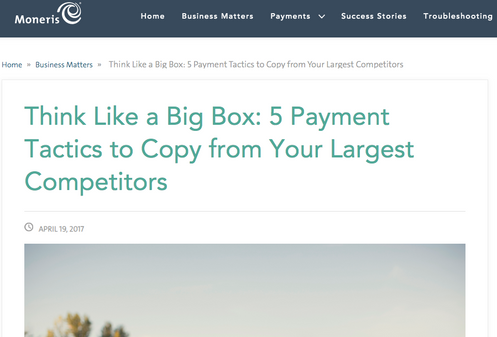 Article for Moneris: Think Like a Big Box