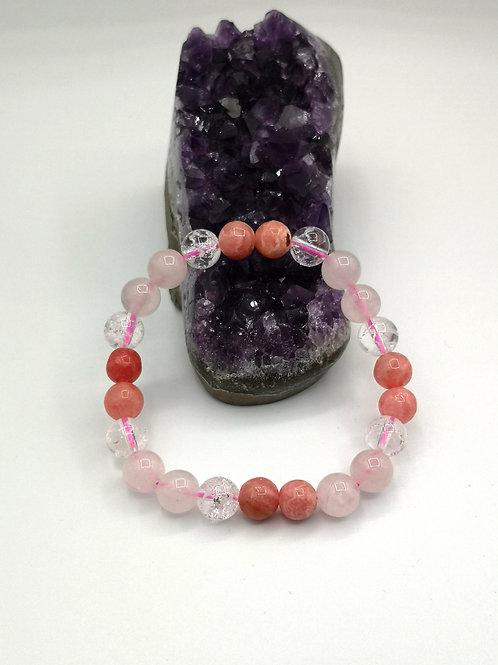 Bracelet Quartz rose, rhodochrosite et cristal de roche craquelé