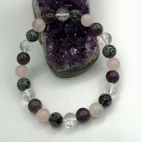 Bracelet Quartz rose, Cristal de roche, Améthyste et Obsidienne neige