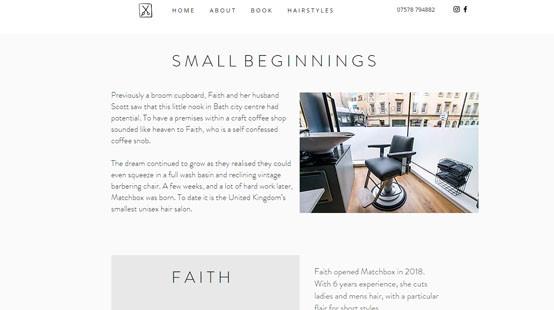Matchbox Salon Website Small Beginnings