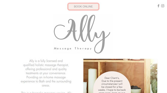 Ally Massage Therapy Website Homepage