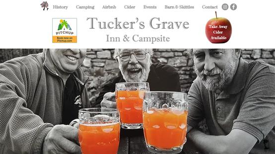 Tuckers Grave Inn Website Homepage