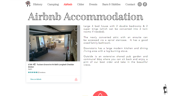 Tuckers Grave Inn Website Airbnb Page