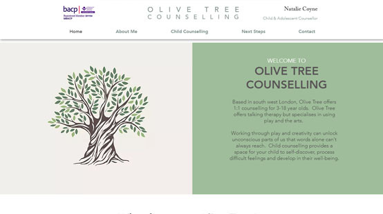 Olive Tree Counselling Website Homepage