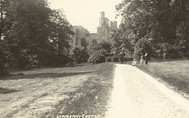 Lawrenny Castle: NE elevation, former principal carriageway, at time of photograph service entrance