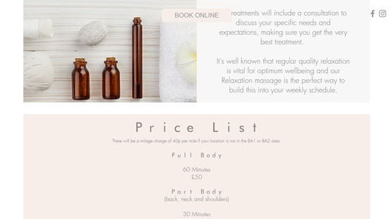 Ally Massage Therapy Website Price List