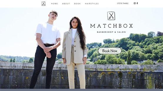 Matchbox Salon Website Homepage