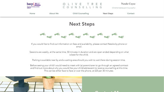 Olive Tree Counselling Website Next Steps