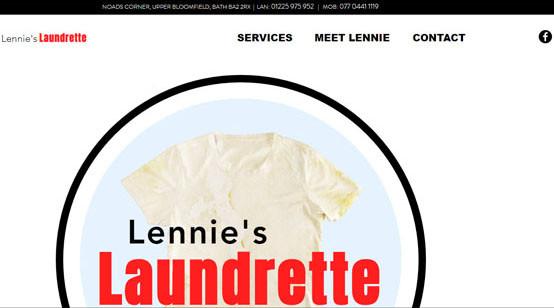 Lennie's Laundrette Website Frontpage
