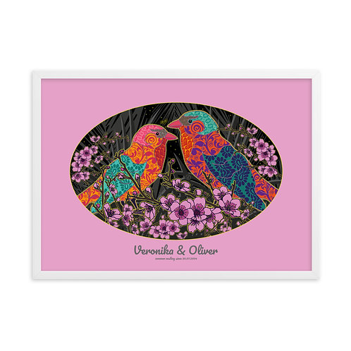 Wedding Nightingale Pink - personalized framed poster art /w