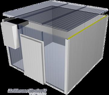 Zelfbouw koelcel waar het dak op geplaatst wordt