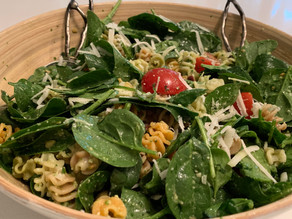 Tricolore Spinach Pesto Pasta Salad