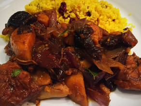 Pomegranate, Sweet Potatoes & Prunes with Chicken