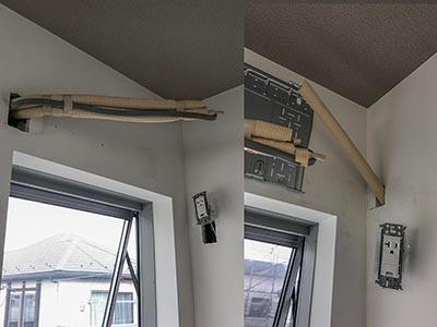 今年一番のエアコン隠ぺい配管