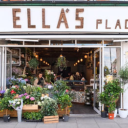 shop window of Ella's Place, a florist and cafe in Parson's Green