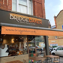 Shop window of Bridge Baker bakery in Fulham