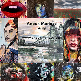 Collage of Anouk's Mariacci's artwork, colourful portraits