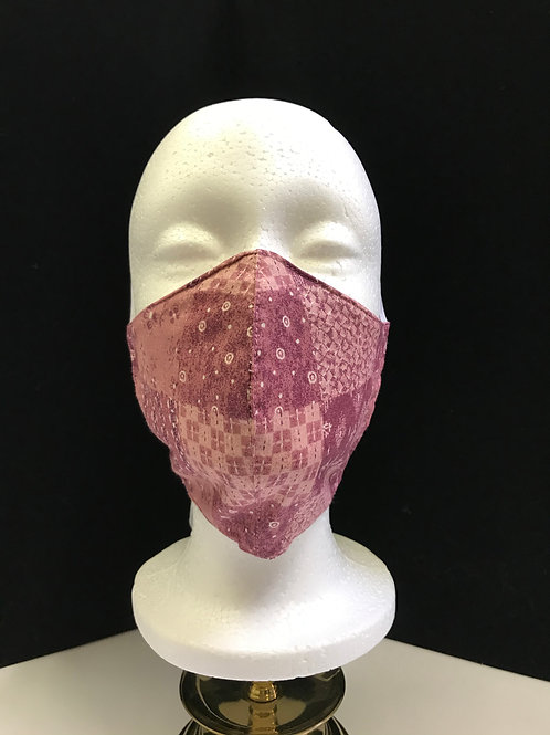 Handmade Fabric Face Mask-Pink and Mauve Patchwork