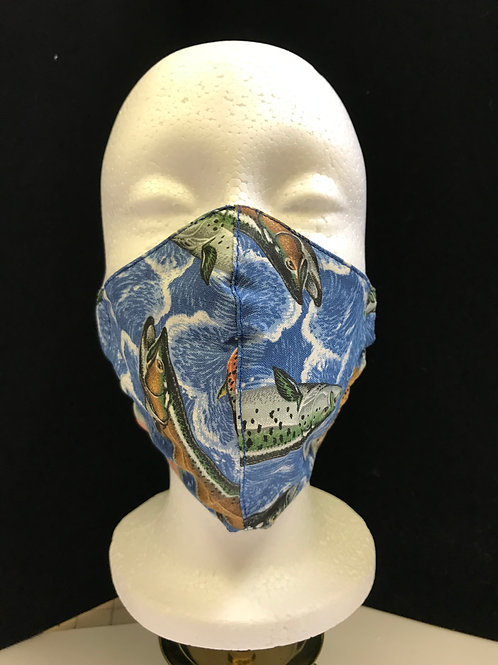 Handmade Fabric Face Mask-Fish on Water print