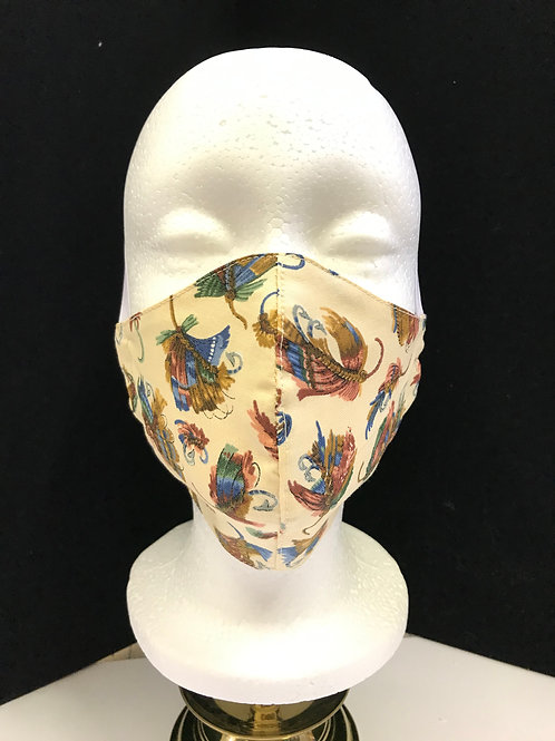 Handmade Fabric Face Mask- Fishing Lures on tan