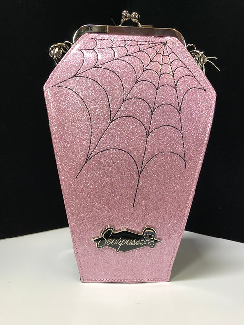 Sourpuss Pink Glitter Coffin Purse with Web