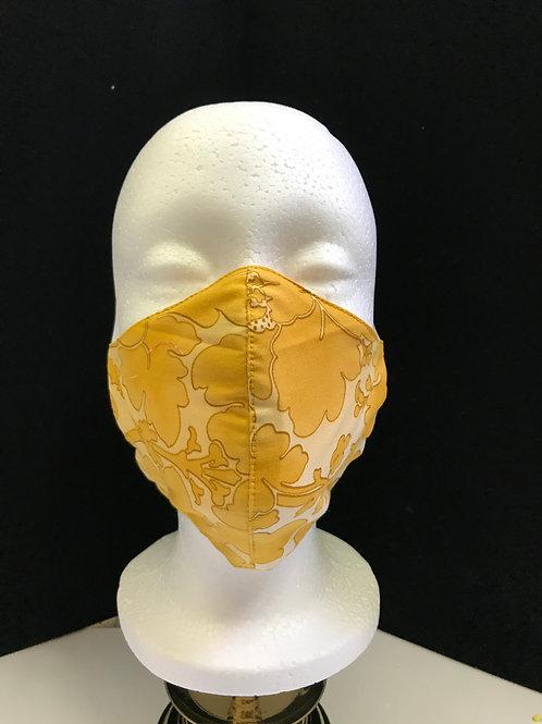 Handmade Fabric Face Mask-Golden Flowers