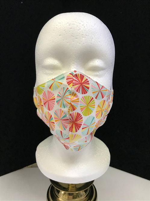 Handmade Fabric Face Mask - Multicolor Pinwheels on white