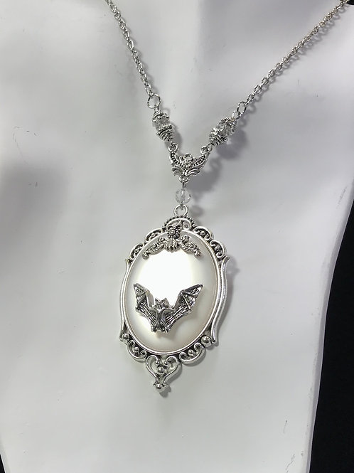 Victorian Bat Cats Eye Necklace - white