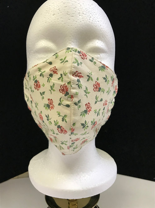 Handmade Fabric Face Mask-Roses on Cream