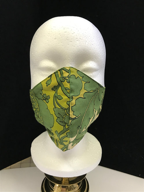 Handmade Fabric Face Mask-Olive Flowers